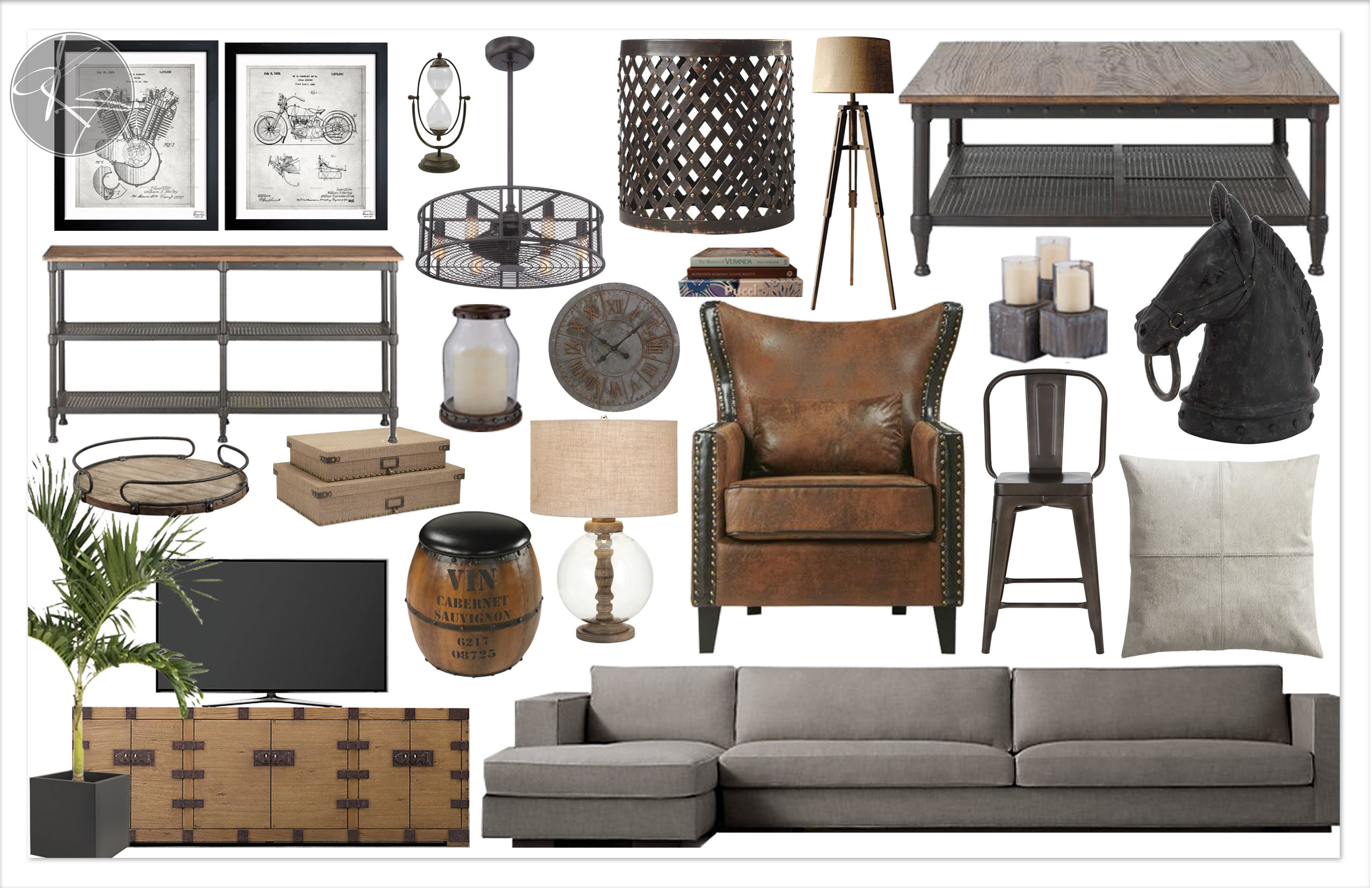 moodboard industrial kylie t interiors. Black Bedroom Furniture Sets. Home Design Ideas
