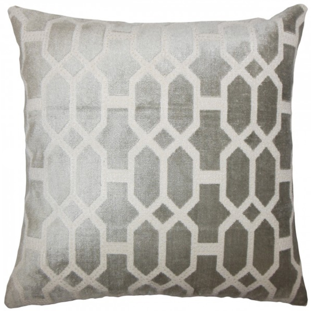 kylie t interiors laine geometric pillow grey  opulent and plush - laine geometric pillow grey